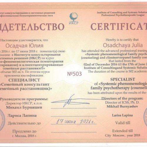 Повышение квалификации на курсе «Системно-феноменологическая психотерапия (консультирование) и клиент-центрированные семейные расстановки»